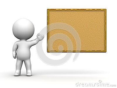 3D Man Presenting Cork Board