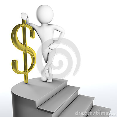 3D man reached the top of the stairs with golden dollar sign