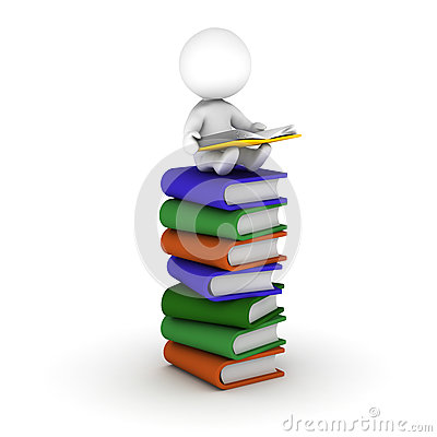 3D Man Reading Book Sitting on Stack of Books