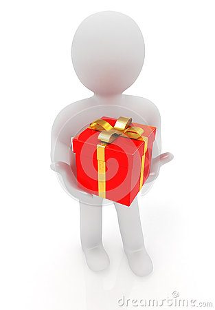 3d man and red gifts with gold ribbon