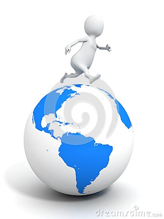 3d man running on blue planet Earth globe