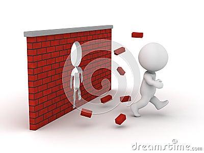 3D Man running through a brick wall