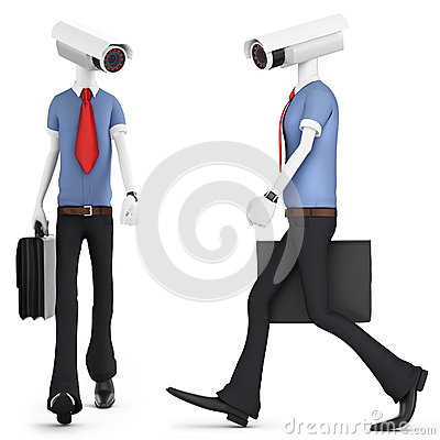 3d man security camera surveillance
