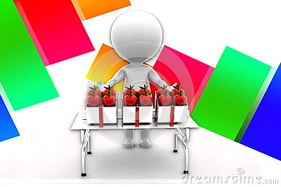 3d Man Selling Apple illustration