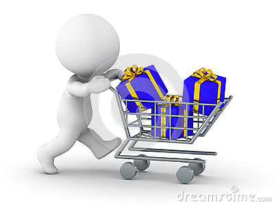 3D Man with shopping cart with gifts