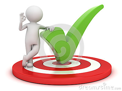 3d man showing okay hand gesture with green check mark standing on dartboard over white