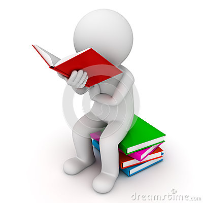 3d man sitting on a pile of books and reading book
