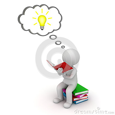 3d man sitting and reading a book with idea bulb in thought bubble over white