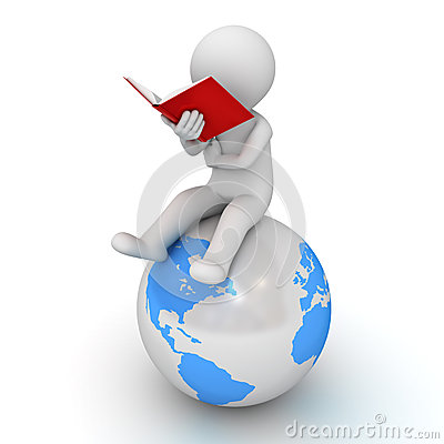 3d man sitting and reading a red book on blue globe over white