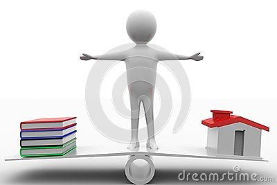 3d Man standing in see saw with books and houses