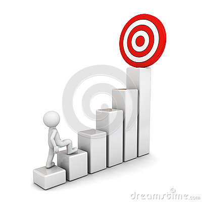 3d man stepping up to his successful goal on top of business graph over white