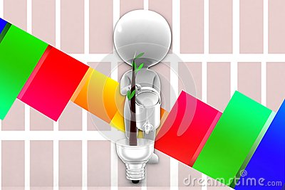 3d Man Supporting Eco Lighting System Illustration