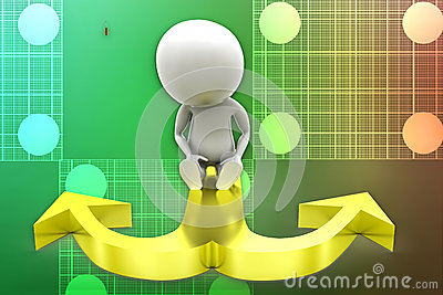 3d man thinking and confusing with two arrows illustration