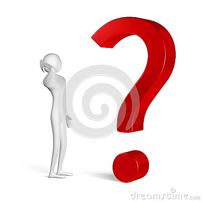 3d man thinking in front of question mark