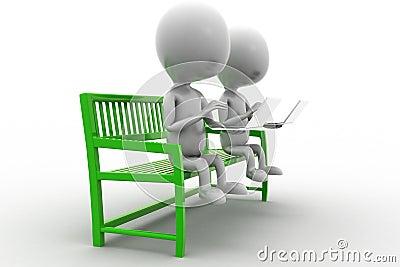 3d Man Using Laptop Sitting On Bench