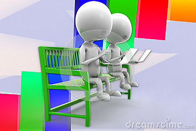 3d Man Using Laptop Sitting On Bench Illustration