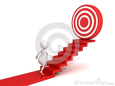 3d man walking up to target on success ladder