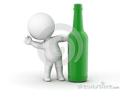 3D Man waving from behind green bottle