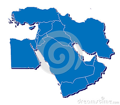 Middle East map in 3D