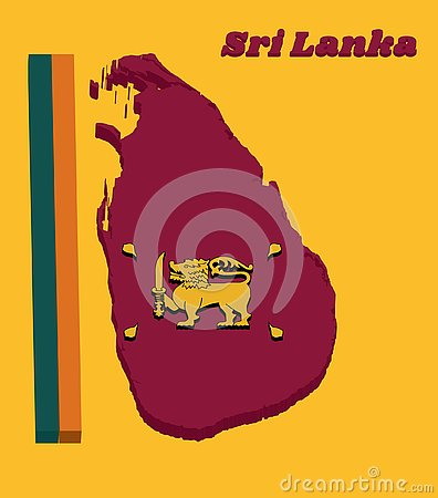 3d Map outline and flag of Sri Lanka, four color of green orange yellow and dark red with golden lion Vector Illustration