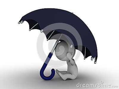 3D mężczyzna Chuje Pod parasolem - ochrony pojęcie