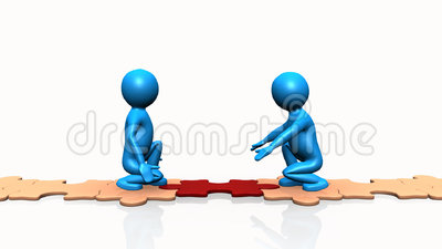 3D men completing puzzle on the floor. Against a white background
