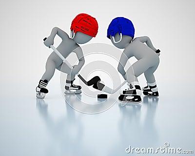3D men play ice hockey