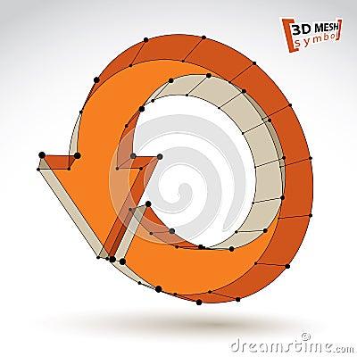 3d mesh stylish update sign isolated on white background, orange
