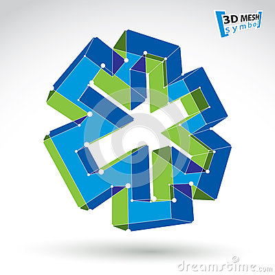 3d mesh web ambulance icon isolated on white background, colorfu