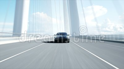 3d model of black sport car on the bridge  Very fast driving  realistic 4K  animation  Automobile, performance