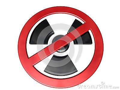 3D-modeled no-radioactivity sign on white background