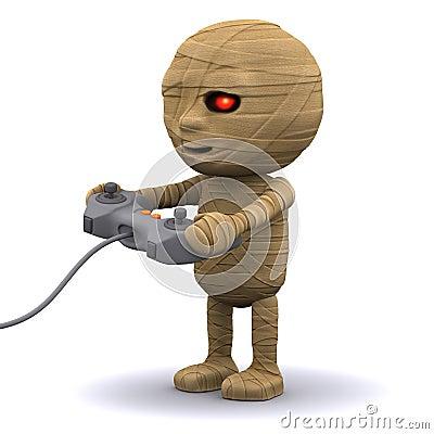 3d Mummy plays a videogame