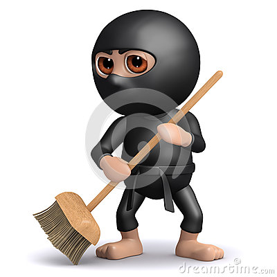 3d Ninja sweeps up after a fight
