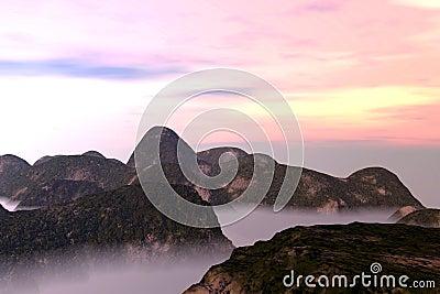 Misty Oriental Landscape