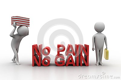 3d people carrying books and holding briefcase with no pain no gain text