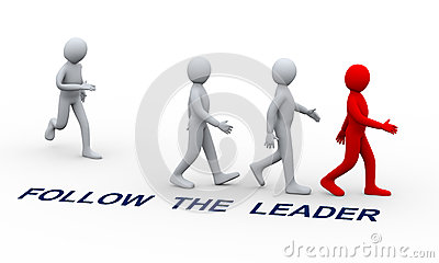 3d people following leader