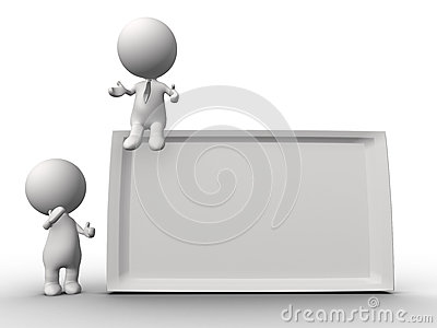 3d 2 people-human character holding a board