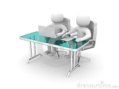 3d people and a laptop at a office. Business partners