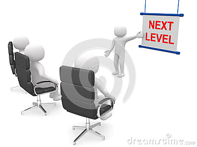 3d people - man ladder. Next level