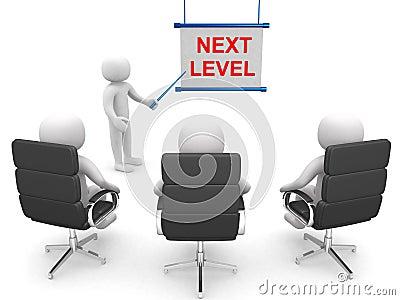 3d people - man ladder. Next level. Progress concept.