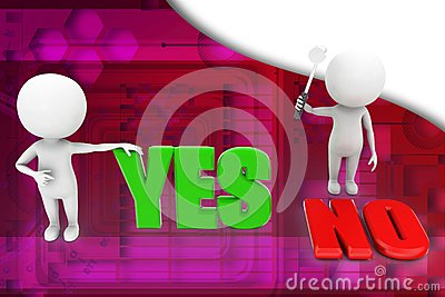3d people - man, person yes or no illustration
