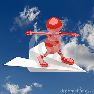 3D People with paper plane