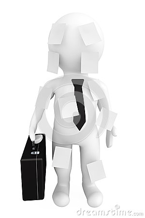 3d person businessman with memo papers
