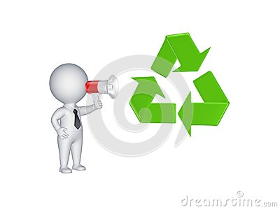 3d person with megaphone and recycle symbol.