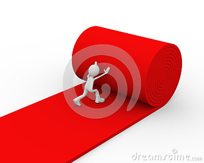 3d person rolling red carpet