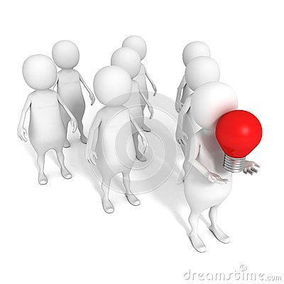 3d person in team leadeship red bulb idea concept