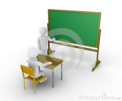 De leraar geeft instructies aan student