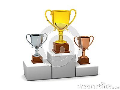 Podium With Trophies