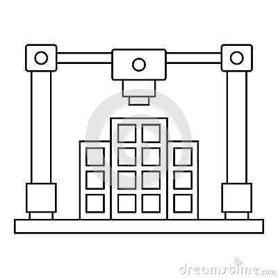 3d Printer Printing Layout Of Building Icon Stock Vector - Image ...