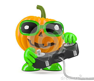 3d Pumpkin man plays a videogame